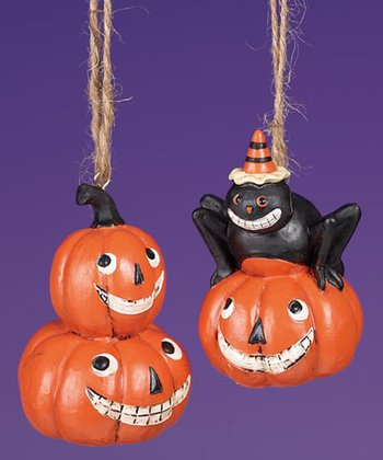 Stacked Jack-O'-Lantern Ornament Set