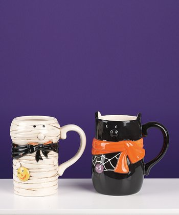 White Mummy & Black Cat Halloween Mug Set