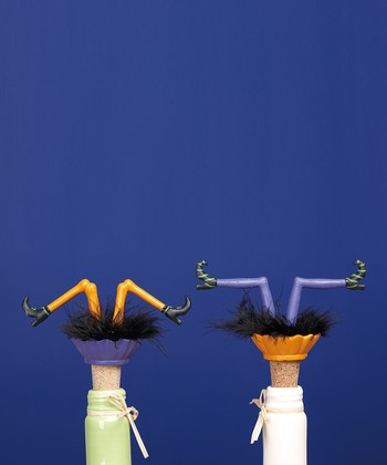 Orange & Purple Halloween Legs Bottle Stopper Set