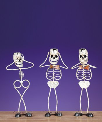 White Skeleton Trio Figurine Set