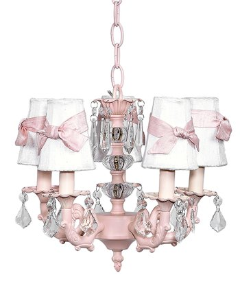 Pink & White Stacked Ball Chandelier