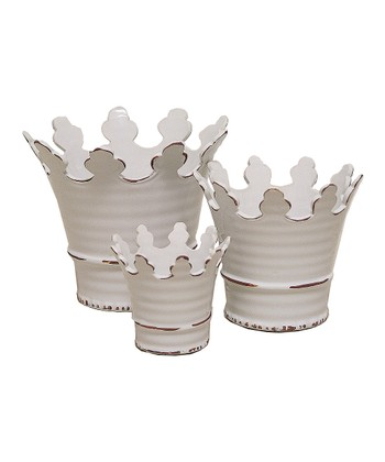 Crown Ceramic Planter Set