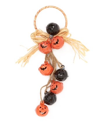 Black & Orange Pumpkin Bell Door Hanger