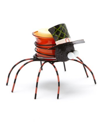 Orange Top Hat Spider Candleholder