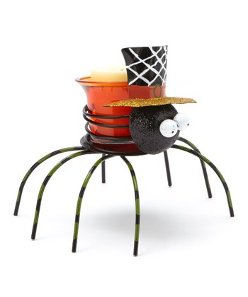 Gold Top Hat Spider Candleholder