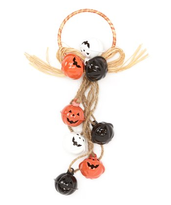Black, White & Orange Pumpkin Jingle Wreath