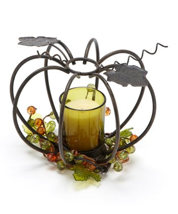 Green Metal Pumpkin Candleholder