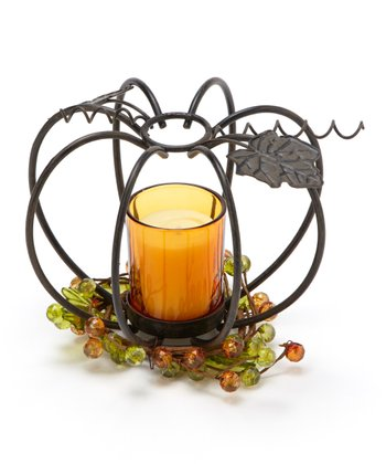 Orange Metal Pumpkin Candleholder