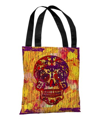 Orange Dia de Los Muertos Treat Bag