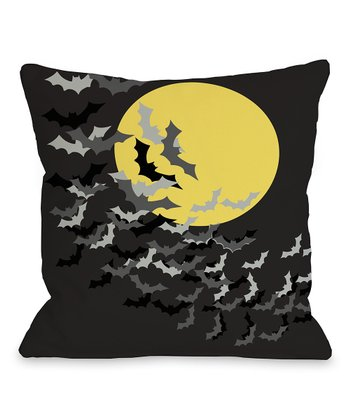 Black & Yellow Flock of Bats Throw Pillow