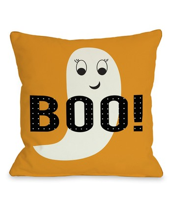 Orange Ghostly 'Boo' Throw Pillow