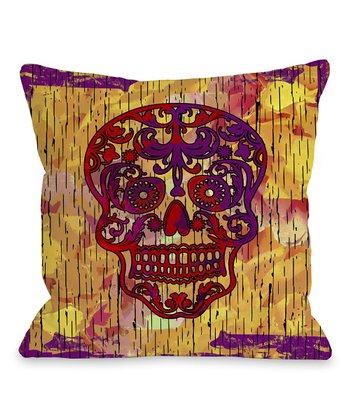 Orange Dia de los Muertos Throw Pillow