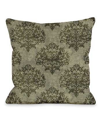 Tan Haunted Filigree Throw Pillow