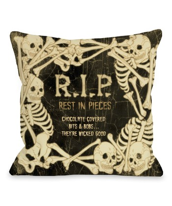 Black & Ivory 'RIP' Skeletons Throw Pillow