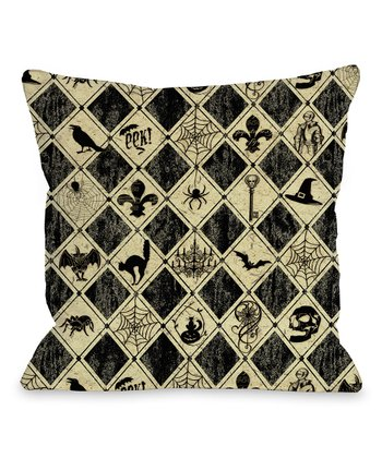 Black & Ivory Spooky Diamonds Throw Pillow