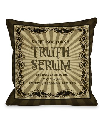 Black 'Truth Serum' Throw Pillow