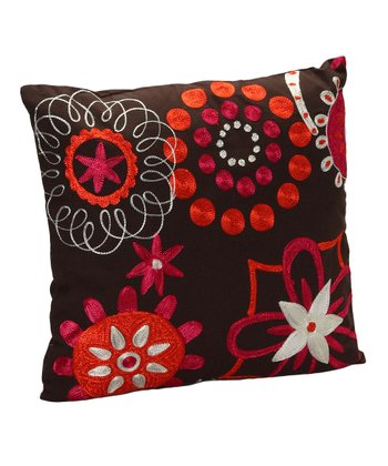 Brown & Orange Floral Pillow