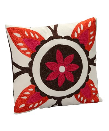 White & Red Flower Pillow