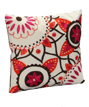 White & Fuchsia Floral Pillow