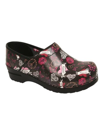 Black Heart & Rose Professional Heather Clog - Women