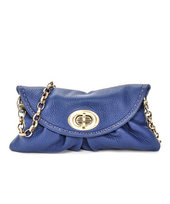 Cobalt Leather Mini Clutch