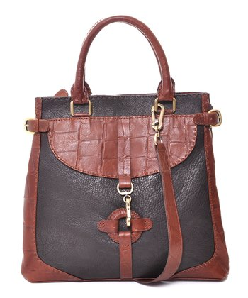 Brown Grace Crocodile-Embossed Shoulder Bag