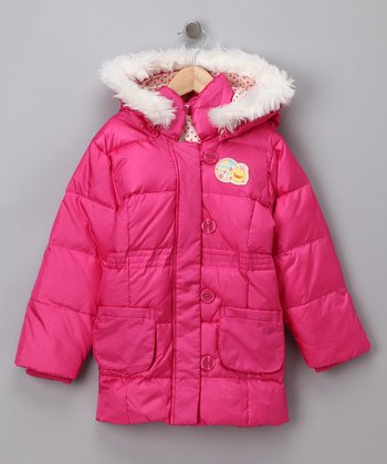 Pink Hooded Puffer Coat - Toddler