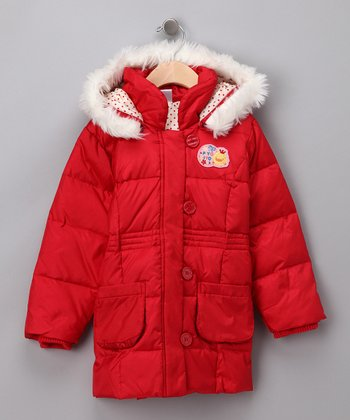 Red Hooded Puffer Coat - Toddler