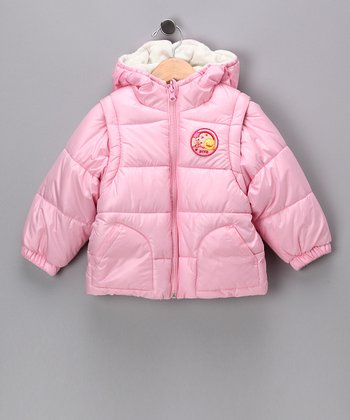 Pink & White Reversible Hooded Puffer Jacket - Infant & Toddler