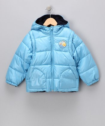 Blue & Navy Reversible Hooded Puffer Jacket - Infant & Toddler