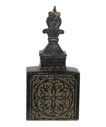 Black Fleur-de-Lis Small Covered Jar