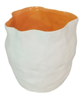 White & Orange Small Vase