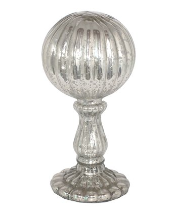 Mercury Glass Ribbed Orb Finial
