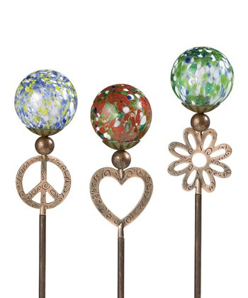 Peace, Love & Beauty Garden Stake Set