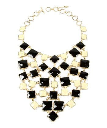 Gold & Black Bib Necklace