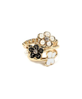 Gold Rose Faux Pearl Garden Ring Set