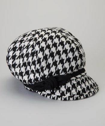 White & Black Houndstooth Newsboy Cap