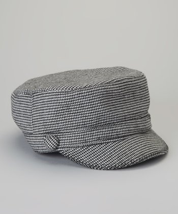 Black Mini Houndstooth Cadet Cap
