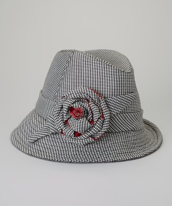 Black Houndstooth Floral Bucket Hat