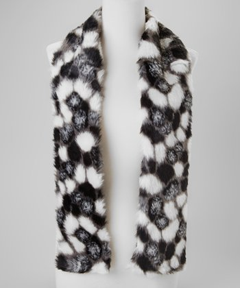 Black & White Faux Fur Scarf