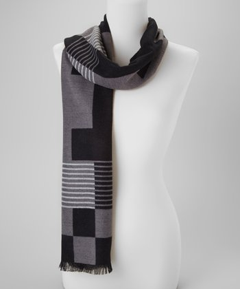 Black & White Checkerboard Cashmere-Blend Scarf