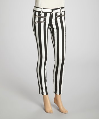 Black & White Stripe Jean Pants