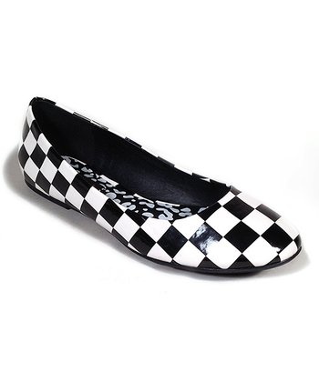 Black & White Checkerboard Halo Ballet Flat