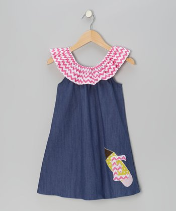 Pink Zigzag Denim-Look Initial Yoke Dress - Infant, Toddler & Girls