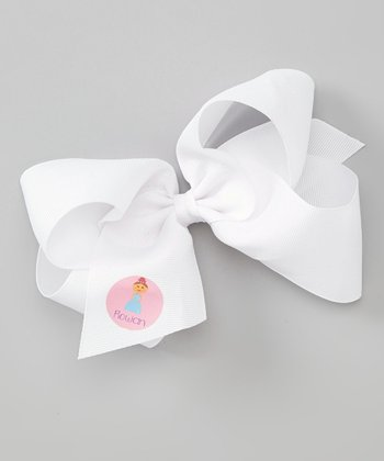 White Princess Personalized Bow Clip