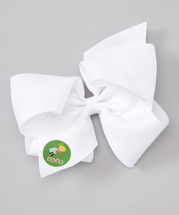 White Super Girl Personalized Bow Clip