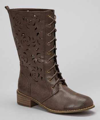 Brown Laser-Cut Tyra-01 Boot