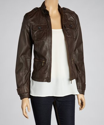 Mahogany Leather Moto Jacket - Women