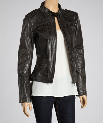 Whet blu Charcoal Quilted Leather Scooter Jacket