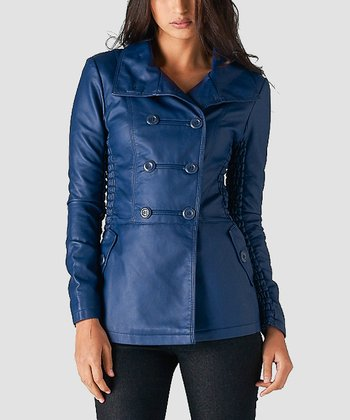 Dark Royal Blue Peacoat - Women
